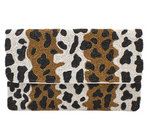 White/Tan Leopard Two-Toned Beaded Clutch