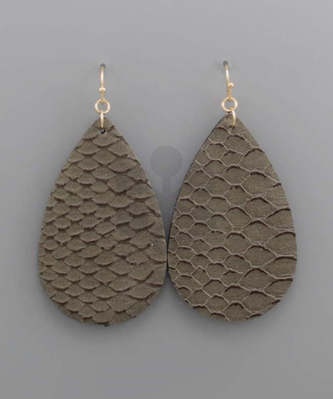 Grey Snakeskin Teardrop Earrings