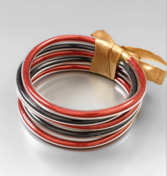 Red and Black Jelly Bangle 5 Piece Set