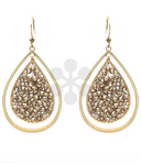 Taupe Bead Filled Teardrop Earrings