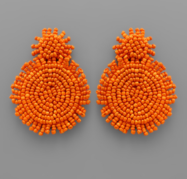 Orange Beaded Small Top Circle Earrings