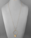 Gold Circle with Pendant Long Necklace