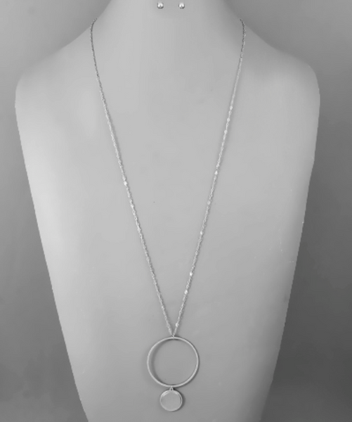 Silver Circle with Pendant Long Necklace