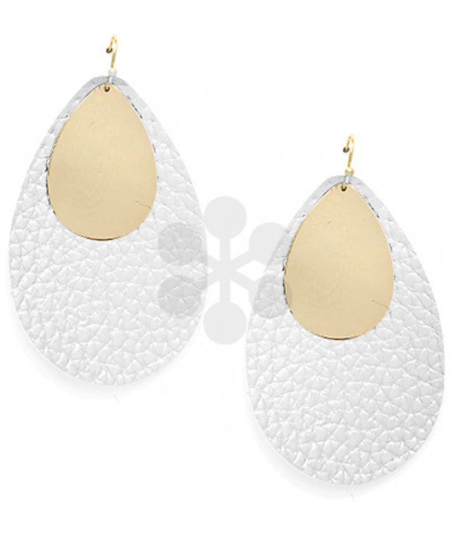 White & Gold Leather Teardrop Earrings