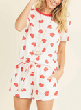 Heart Print Top and Shorts Lounge Set