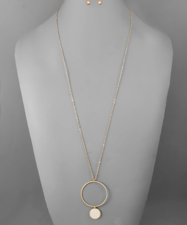 Matte Gold/Matte Silver Circle with Pendant Long Necklace