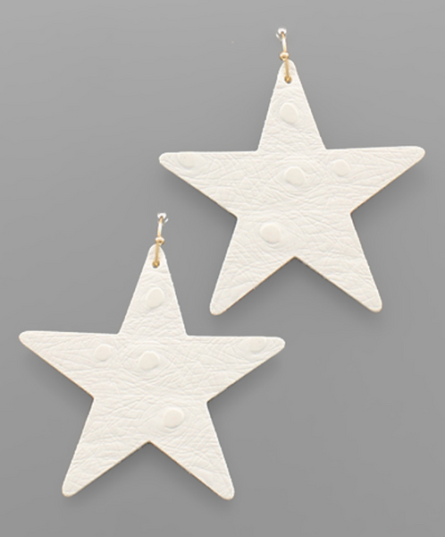 White Ostrich Leather Star Earrings
