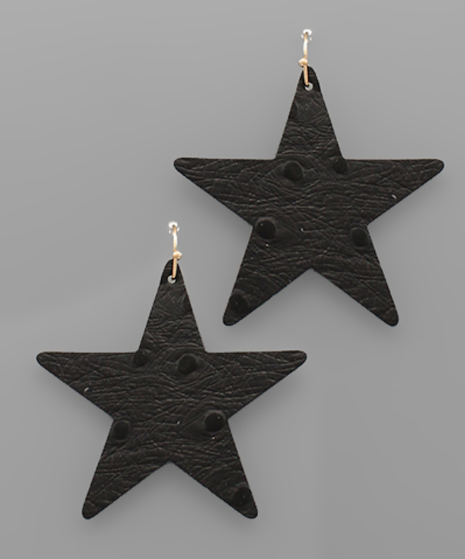 Black Ostrich Leather Star Earrings