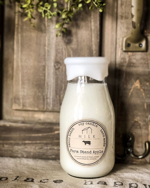 Milk Bottle Candle- Fireside