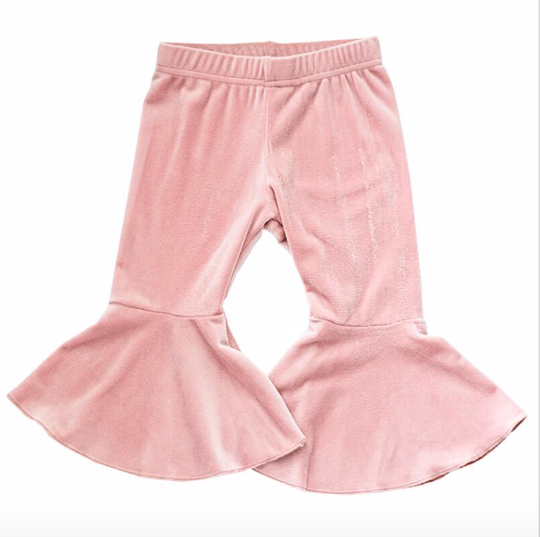 Pink Velour Bell Bottoms