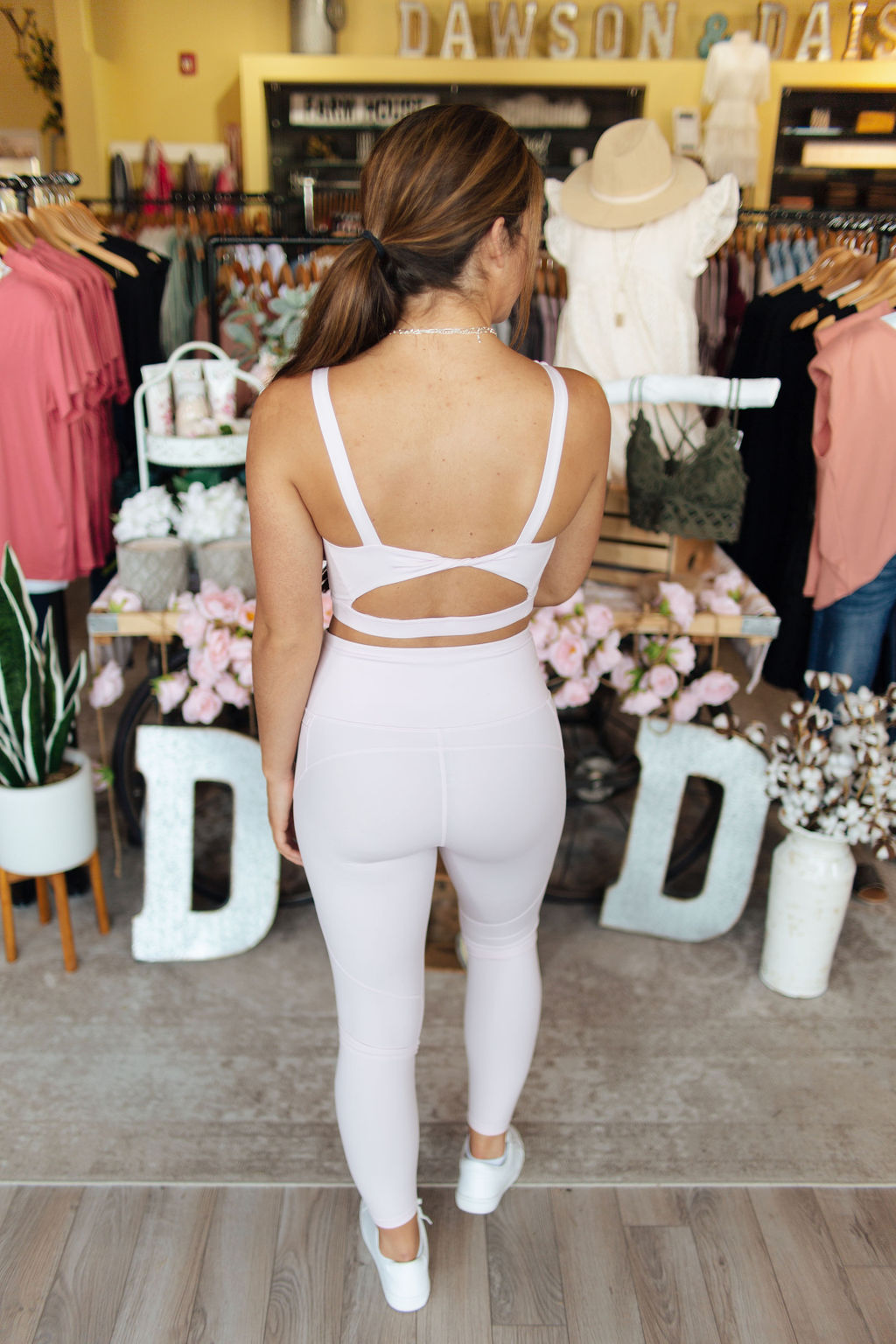 Light Pink Lycra Twist Back Sports Bra
