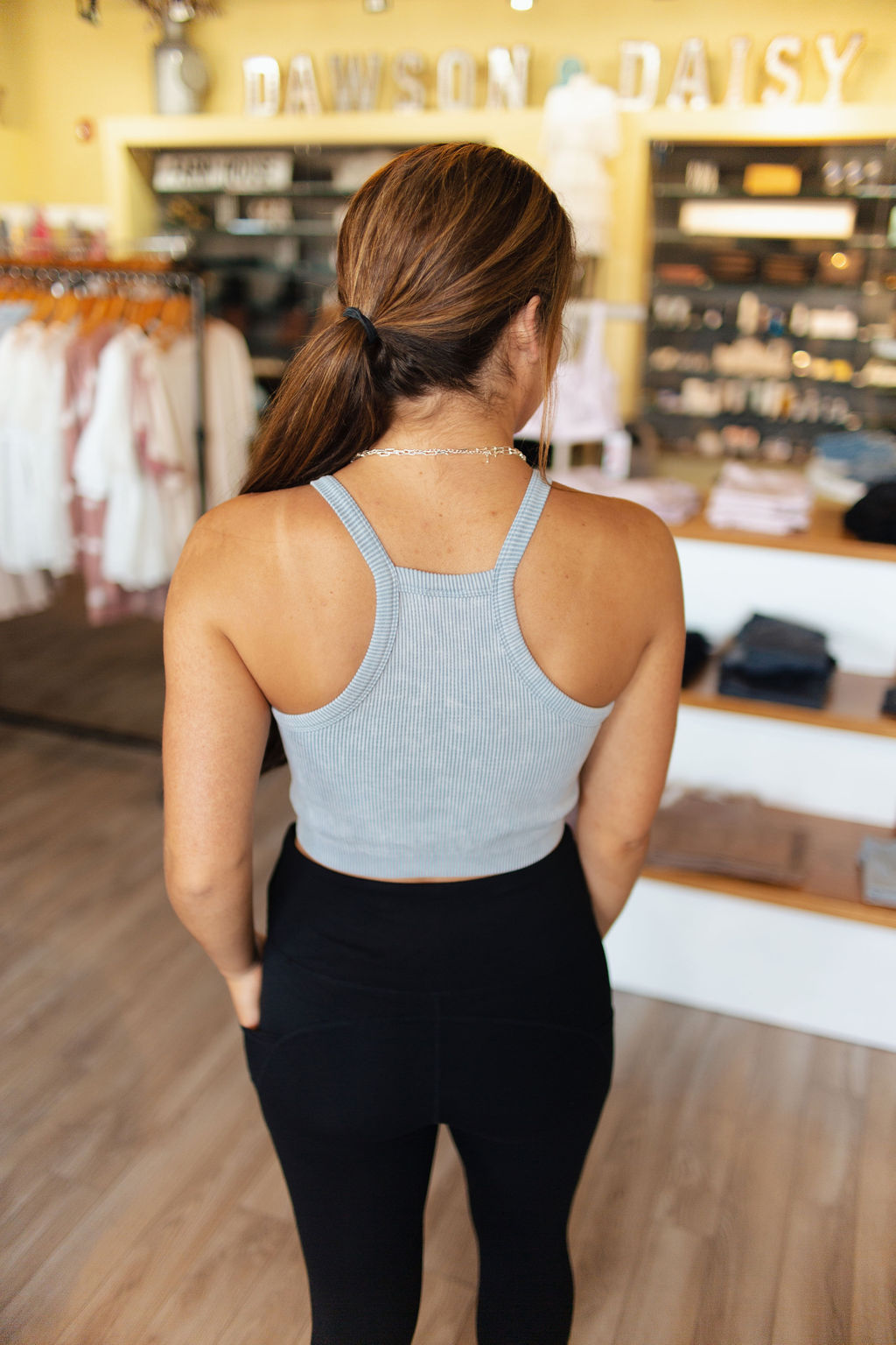 Ocean High Neck Ribbed Sports Bra