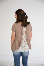 Mocha SS Top with Open Lace Back