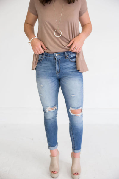 Light Wash High Rise Distressed Knee Jeans