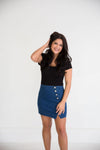Blue Jean Skirt with Silver Buttons