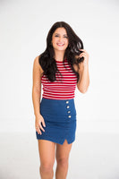 Red Halter Neck Striped Knit Top