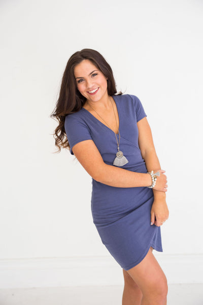 Blue SS Bodycon Wrap Dress