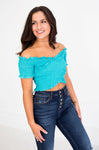 Turquoise Smocked OTS Crop Top