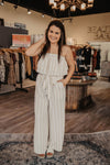 Taupe Striped OTS Jumpsuit