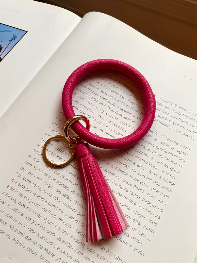 Hot Pink Leather Key Ring