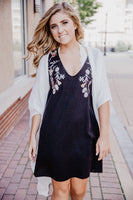 Black Embroidered V-Neck Sleeveless Dress