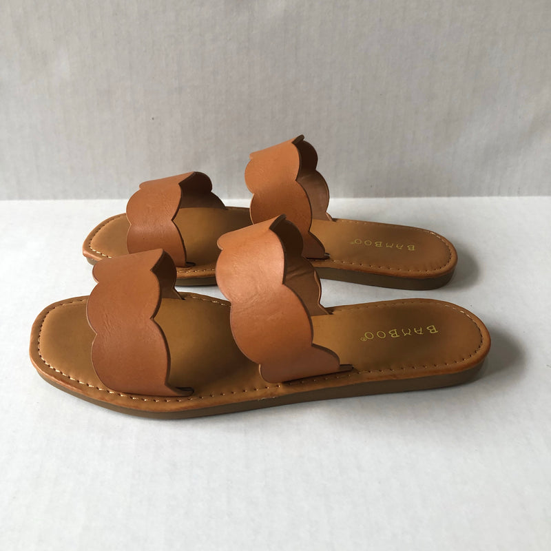 Tan Scalloped Double Strap Sandals