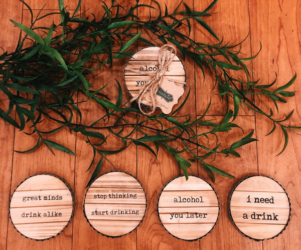 Natural Wood Drinking Theme Coasters
