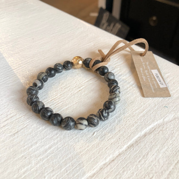 Give by Grace Shiny Beaded Bracelet- Charcoal