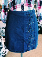 Blue Lace Up Jean Skirt