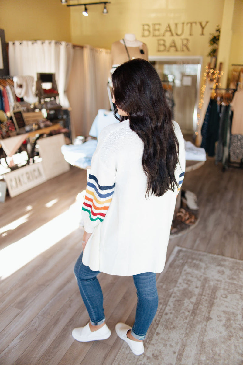Multicolor Stripe Balloon Sleeve Open Cardigan
