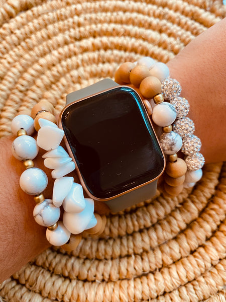 Brown Wood & Marble Beaded Bracelet Stack