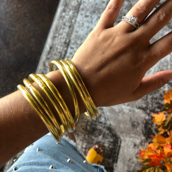 Light Gold Jelly Bangle 7 Piece Set