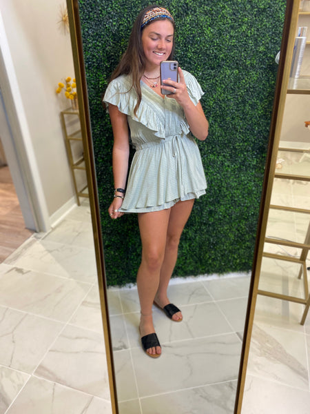 Sage Embroidered Ruffle Romper