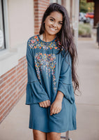 Teal Embroidered Bell Sleeve Dress