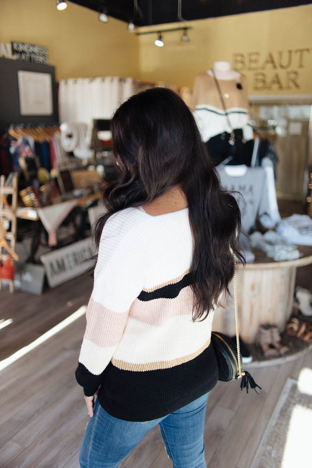 Blush/Black/Gold Wide Neck Sweater
