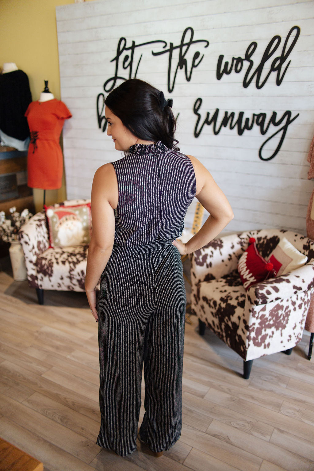 Black Sleeveless Printed Cinched Jumpsuit