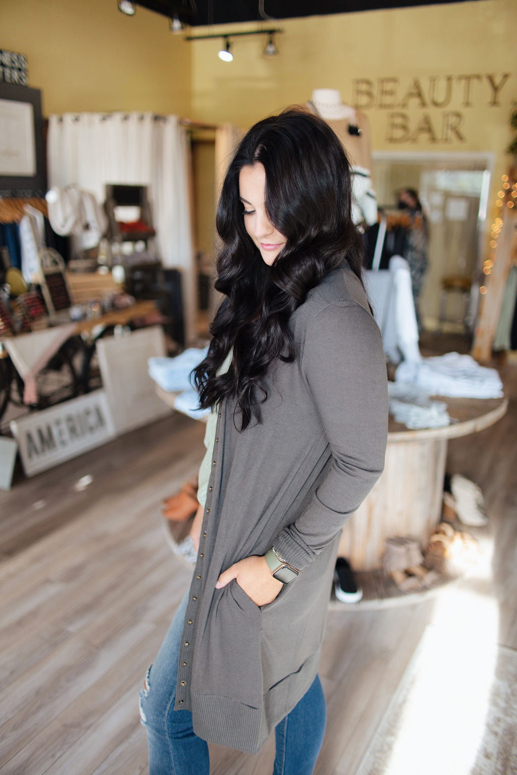 Ash Grey Thigh-Length Snap Button Cardigan