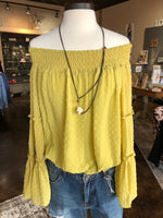 Mustard OTS Textured Bell Sleeve Top