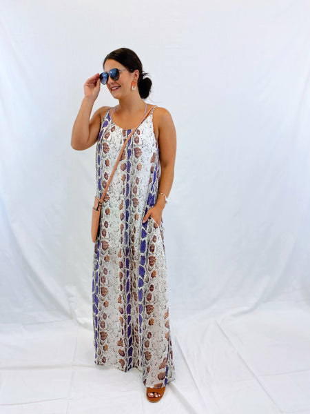 Purple Snakeskin Maxi Dress