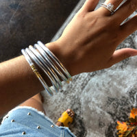 Silver Jelly Bangle 5 Piece Set