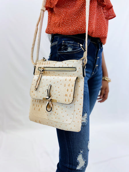 White Ostrich Knot Accent Multi-Pocket Crossbody