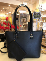 Black Large Leather Tote with Wristlet