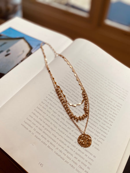 Gold Disc Textured Layer Necklace