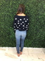 Navy Star Distressed V-Neck Sweater