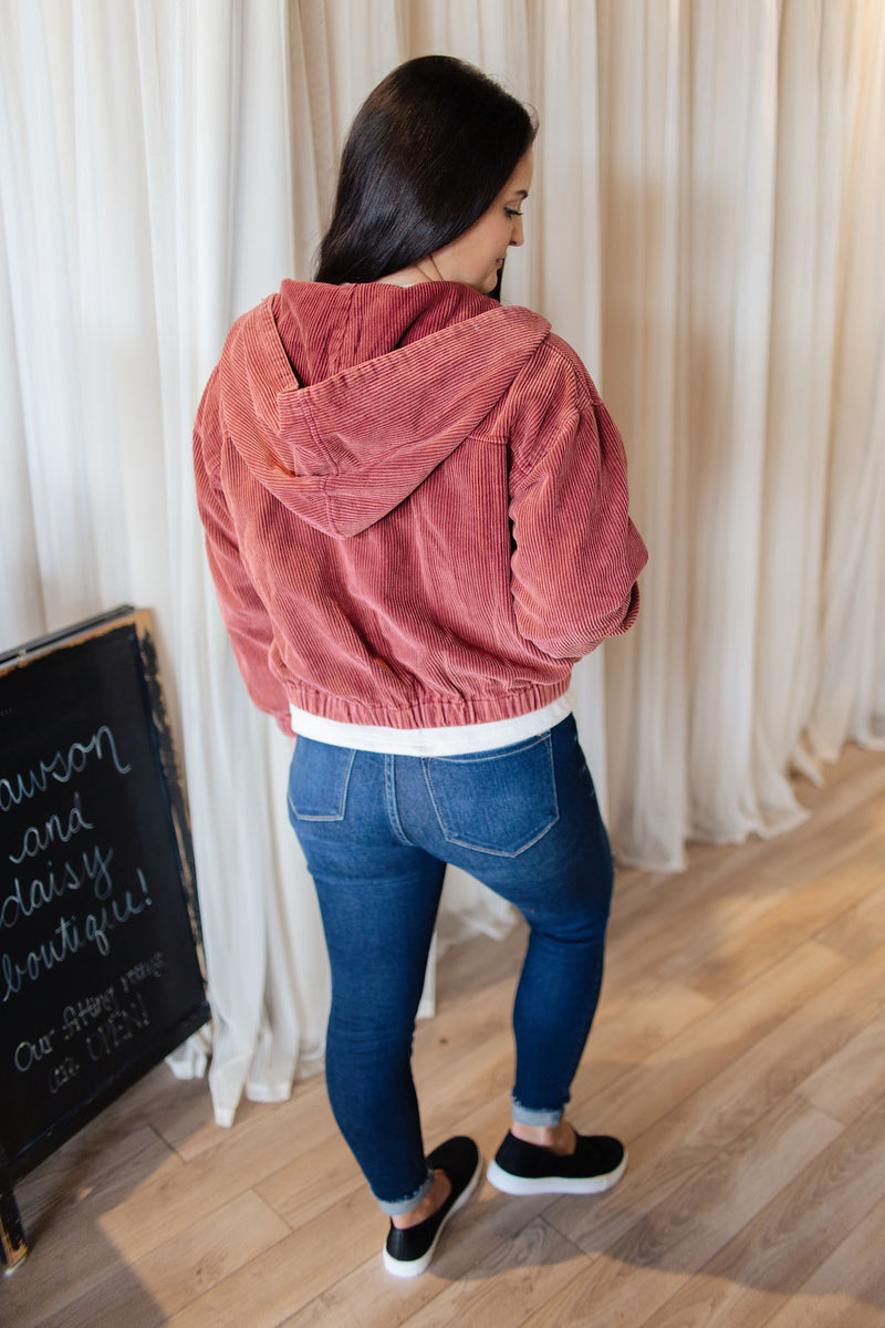 Wine LS Corduroy Zip Up Bomber Jacket