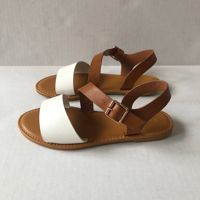 White and Tan Strappy Sandals