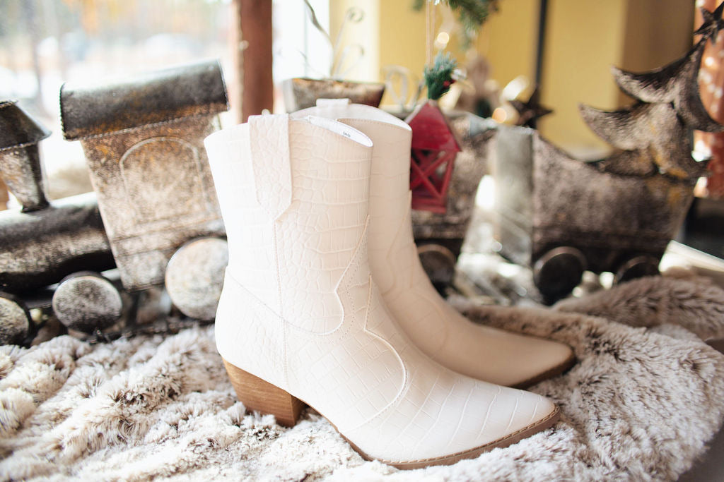 White Bambi Western Boot