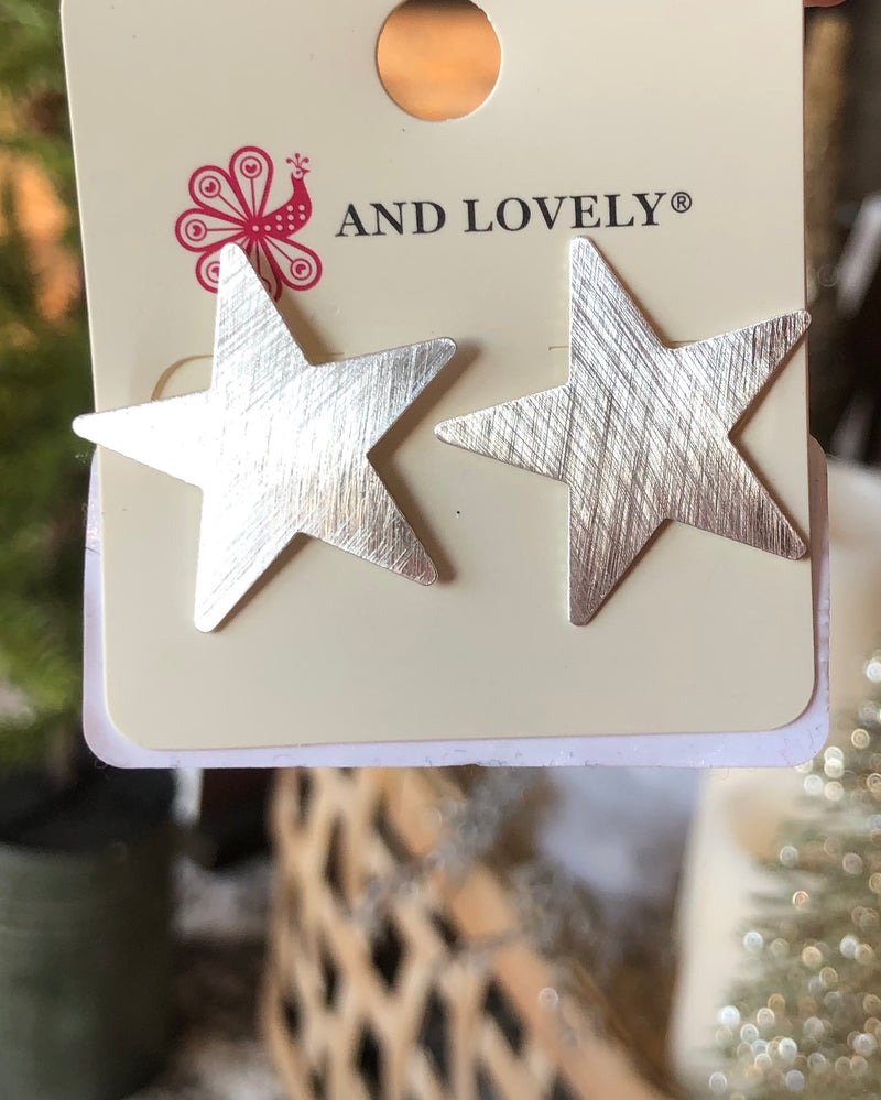Matte Silver Star Stud Earrings