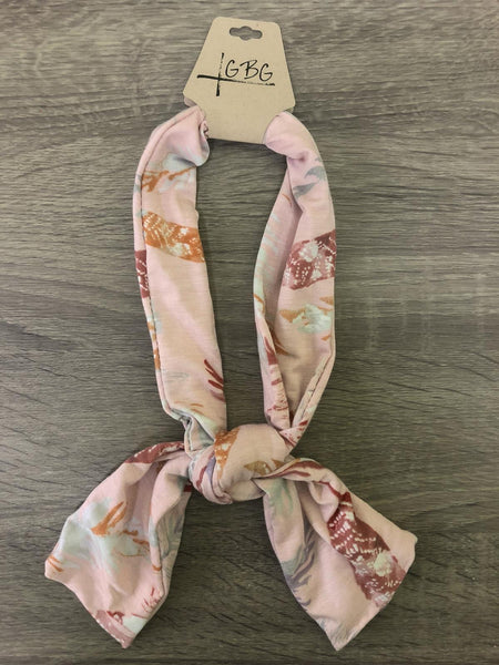 Light Pink Leaf Pattern Print- Give by Grace Headband