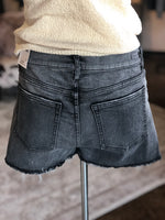 Black Washed Jean Shorts with Raw Hem